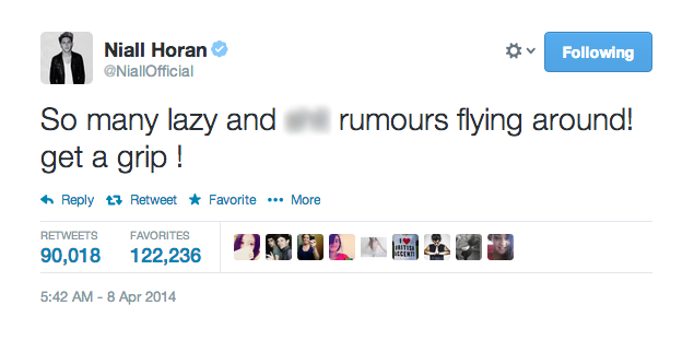 niall horan rumor tweet