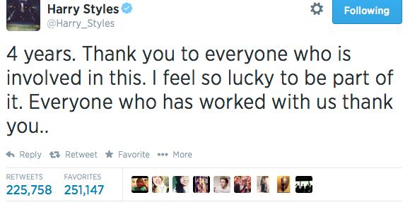 harry styles 1d anniversary tweet