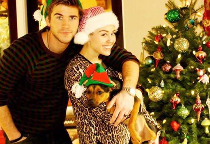 miley-cyrus-liam-hemsworth-christmas-cute
