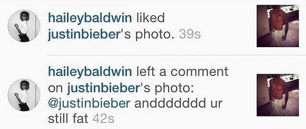hailey baldwin comments justin bieber instagram