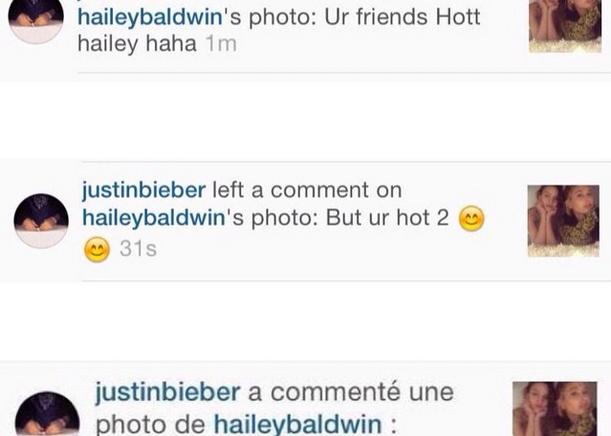 justin bieber comments hailey baldwin instagram