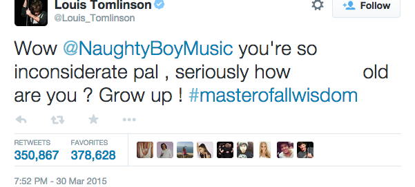 louis tomlinson naughty boy tweet