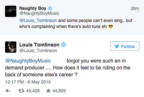 louis tomlinson naughty boy producer tweet