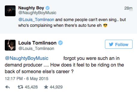 louis tomlinson naughty boy producer tweet