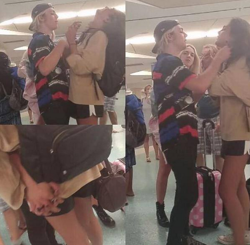 ross-lynch-courtney-eaton-holding-hands-airport