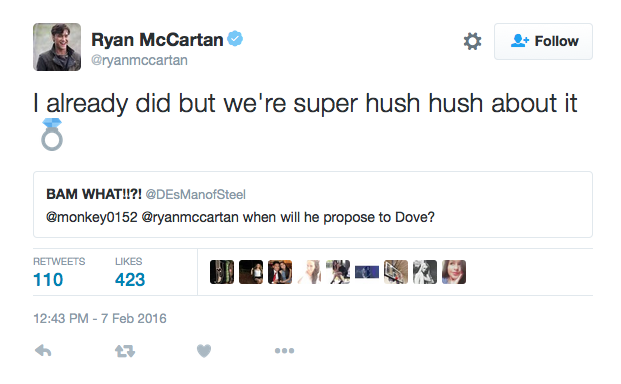 ryan mccartan and dove cameron engaged tweet