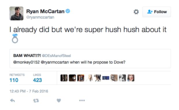 ryan mccartan and dove cameron engaged tweet