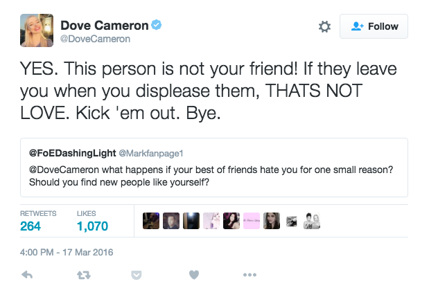 Dove Cameron Denies Fighting With Best Friend Veronica