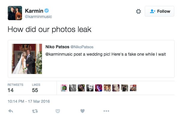 karmin leaked wedding photos joke