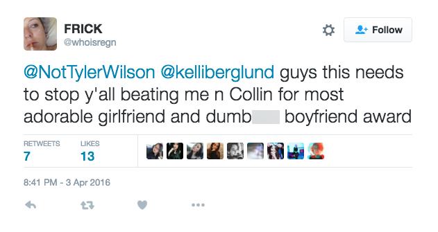 kelli berglund boyfriend tyler wilson tweet