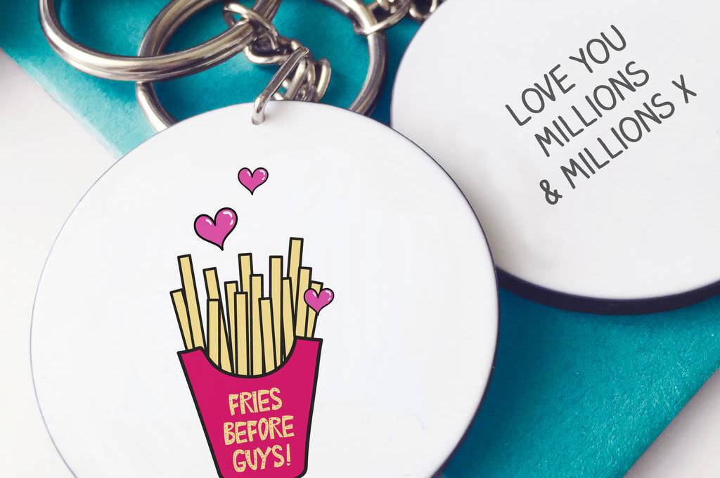 fries before guys keychain