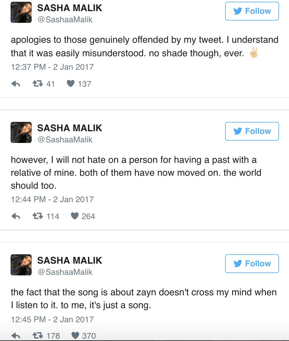 sasha malik tweets zayn