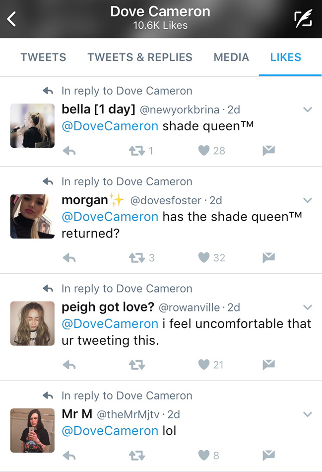 dove cameron twitter faves