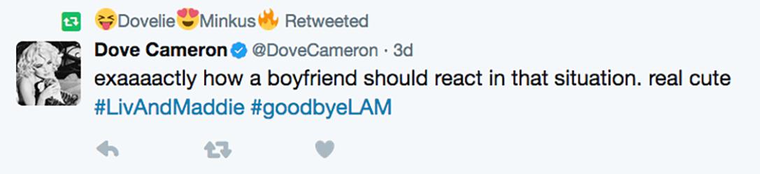 dove cameron shady tweet