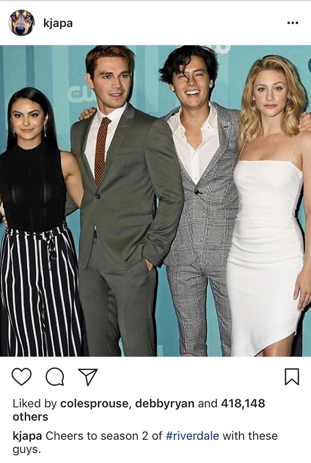 kj apa riverdale instagram post