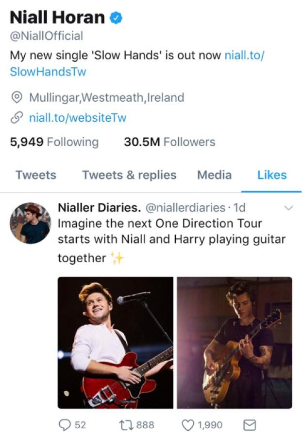 niall horan one direction tour tweet