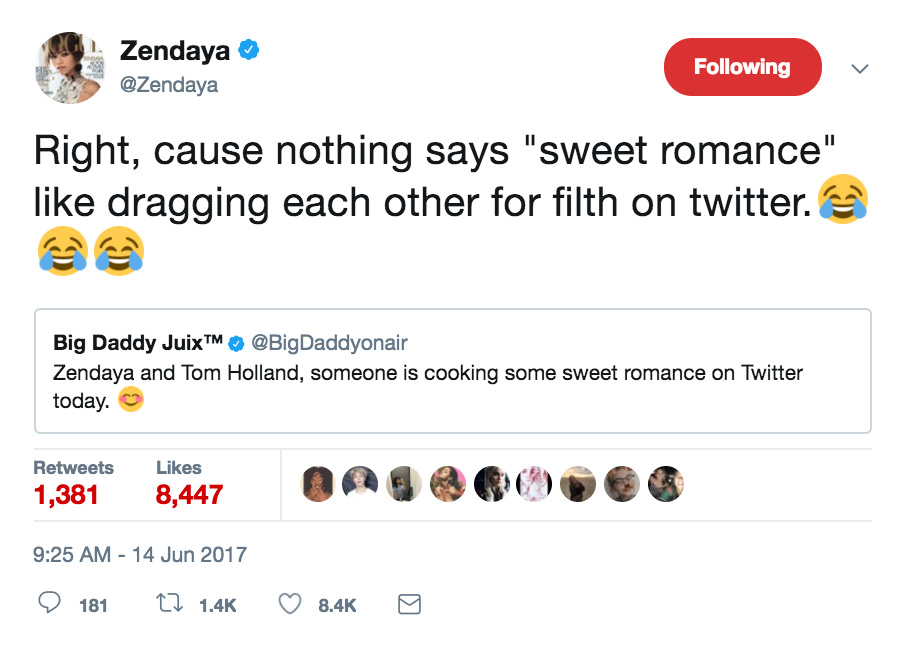zendaya twitter dating rumor