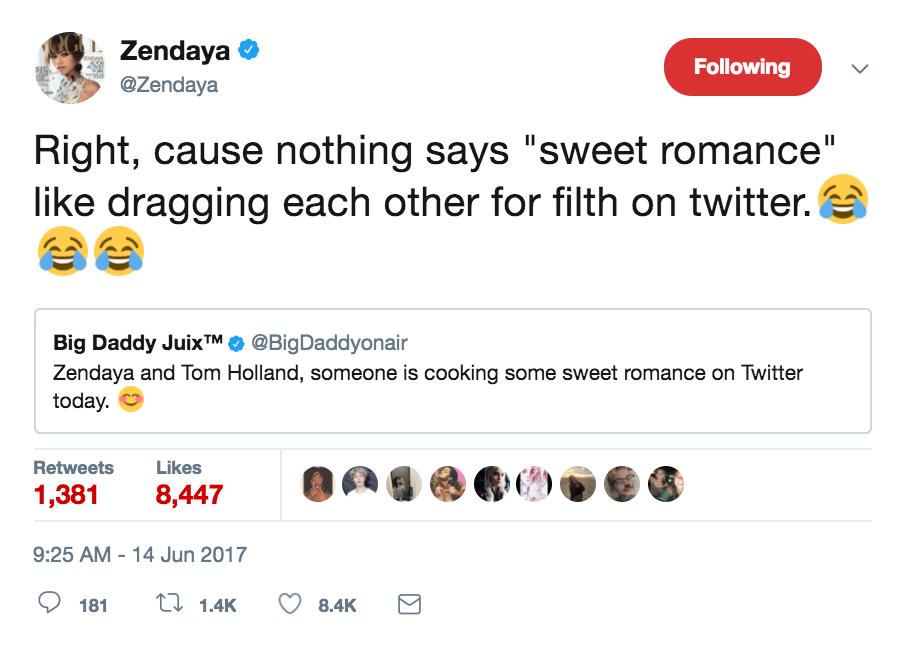 zendaya twitter dating rumor