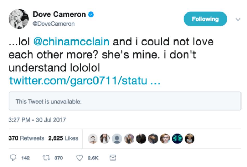 dove cameron tweet 1