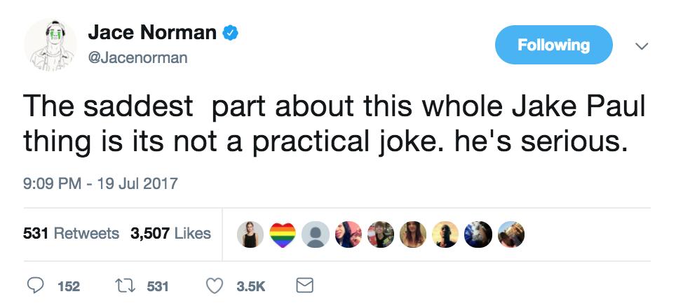jace norman jake paul tweet