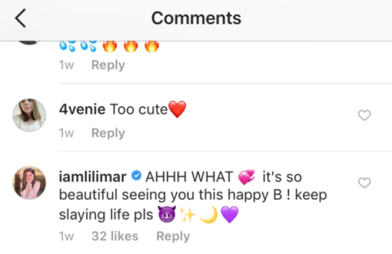 lilimar buddy instagram comment