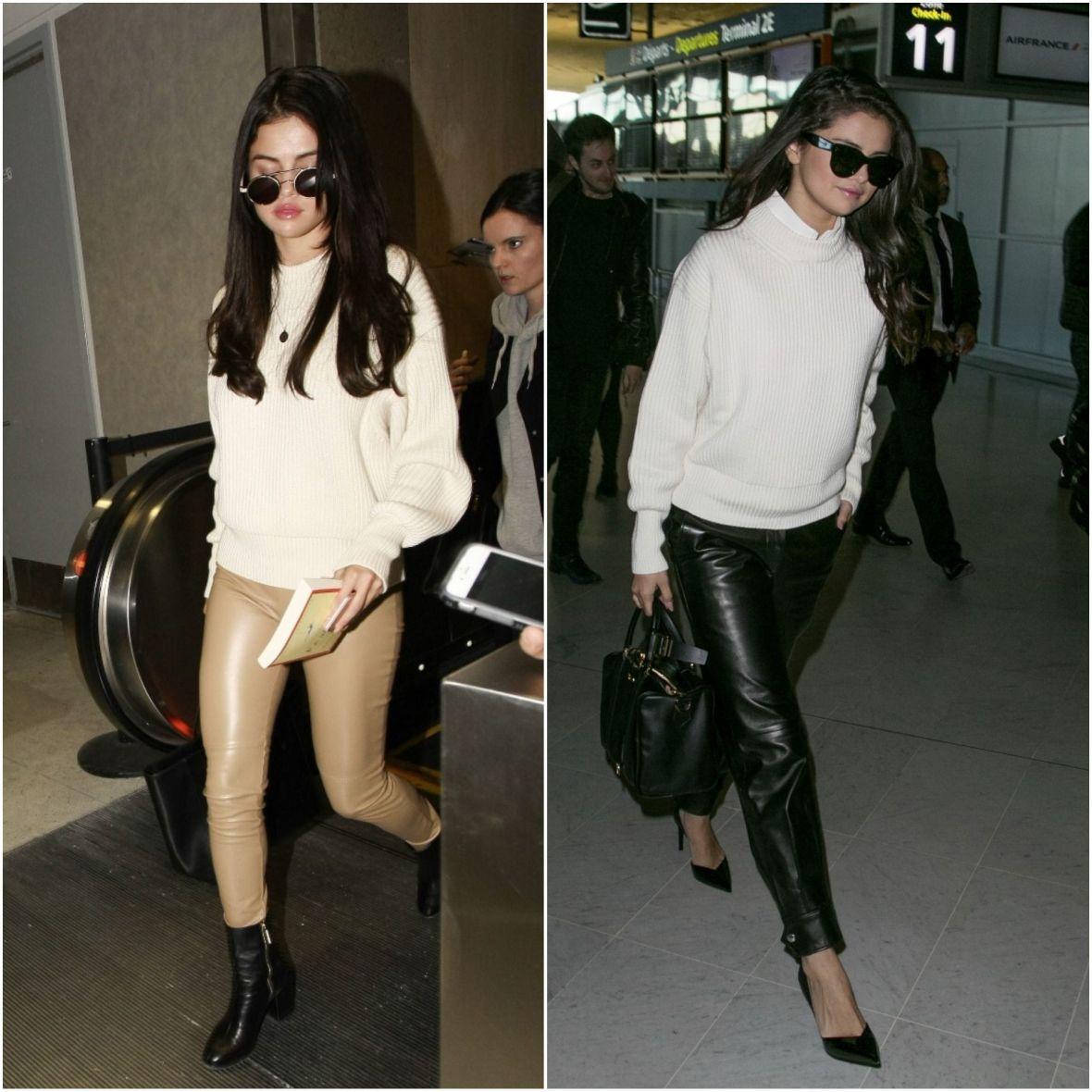 selena-gomez-wet-look-trousers-aiport