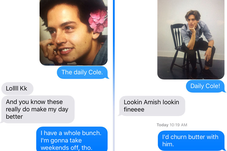 cole sprouse text messages