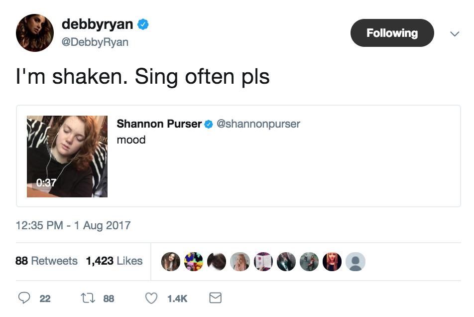 debby ryan tweet shannon purser