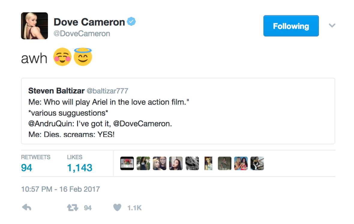 dove cameron ariel tweet