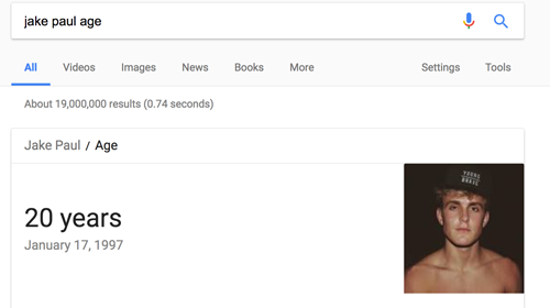 jake paul age google result screencapture