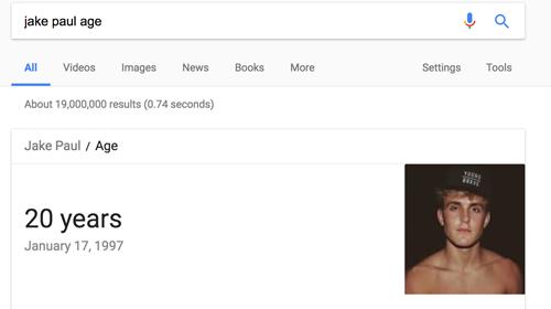 jake paul age google result screencapture