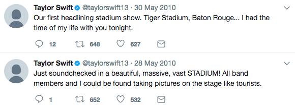 taylor swift first stadium show tweet