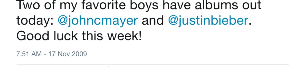 taylor swift justin bieber john mayer tweet