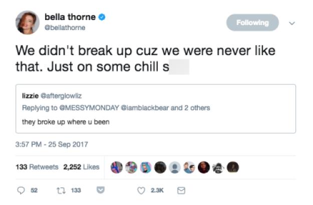 bella thorne tweet blackbear