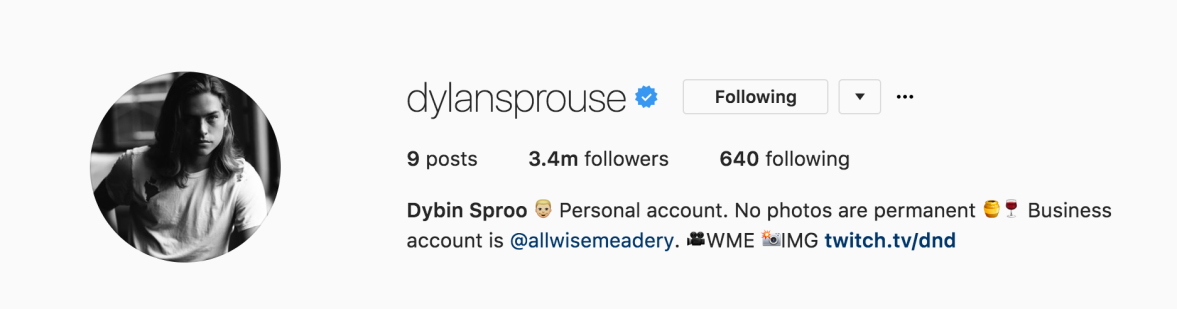 dylan sprouse instagram bio