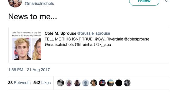 marisol nichols riverdale tweet