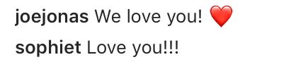 joe jonas sophie turner instagram comment