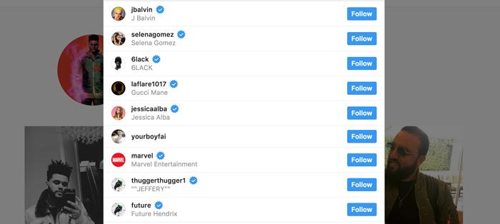 the weeknd instagram following