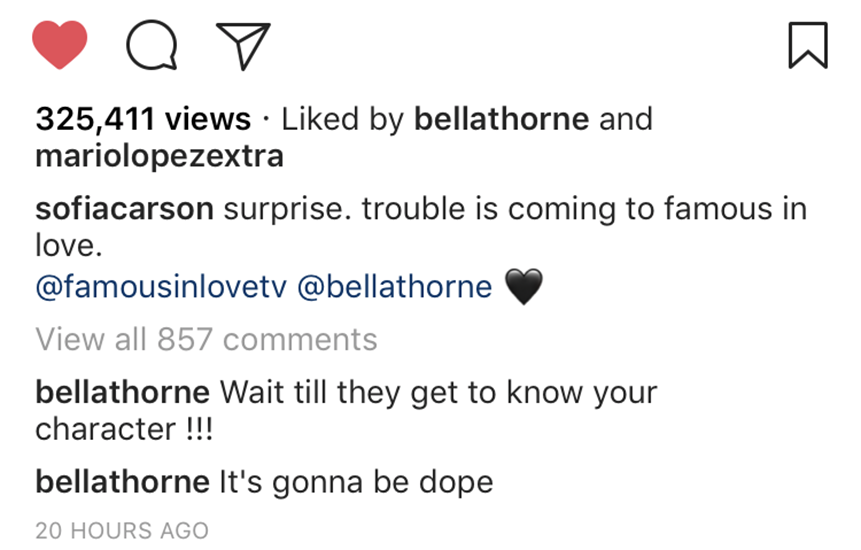 bella thorne sofia carson instagram comment