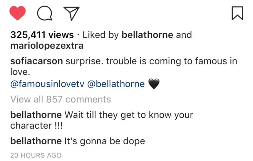 bella thorne sofia carson instagram comment
