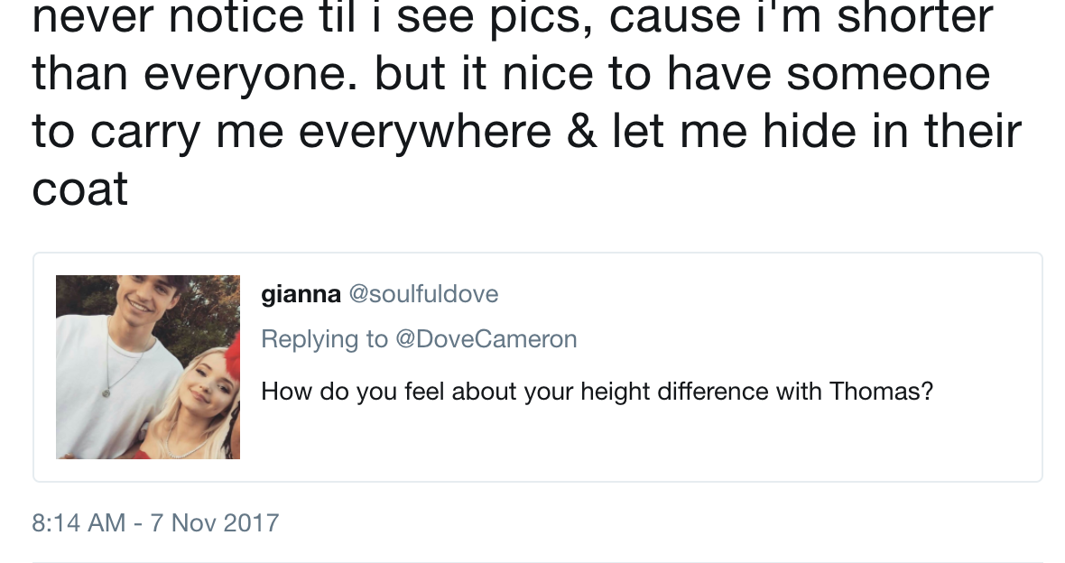 dove cameron height difference thomas doherty