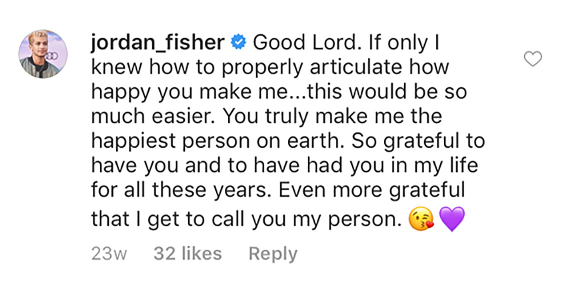 jordan fisher girlfriend comment