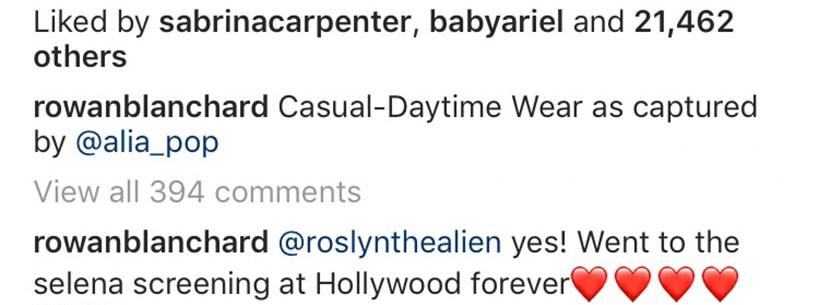sabrina rowan instagram comment