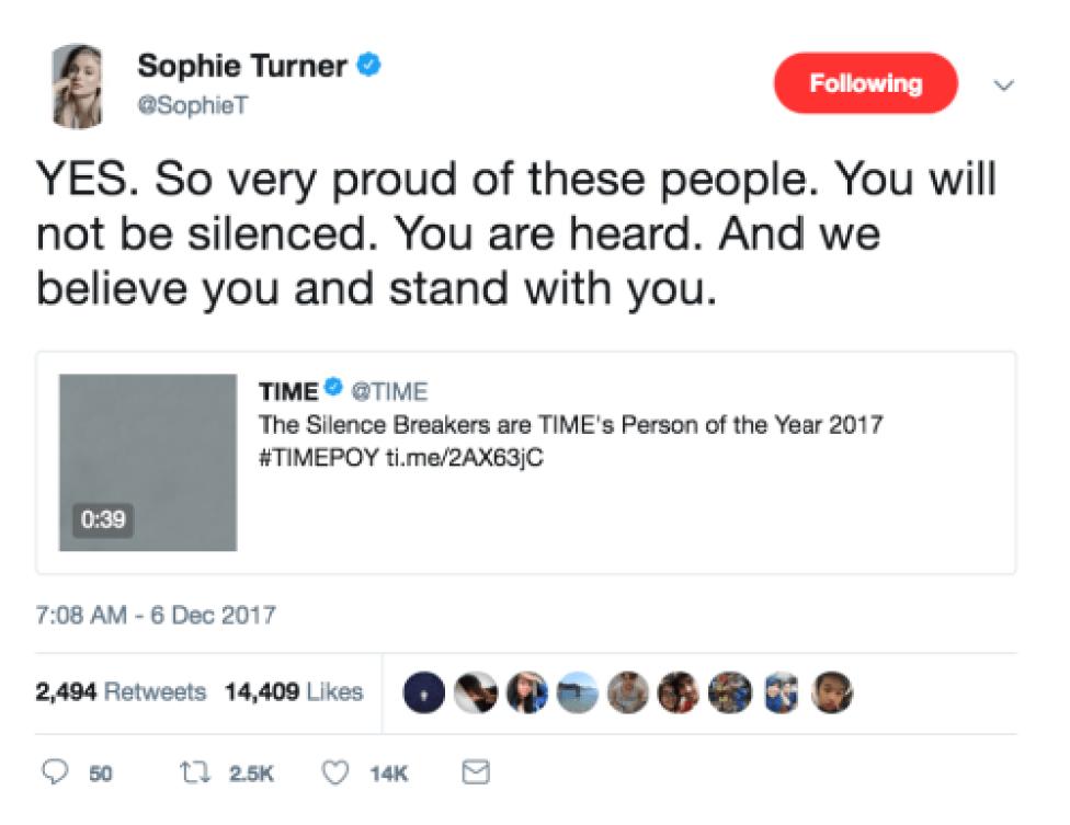 sophie turner silence breakers