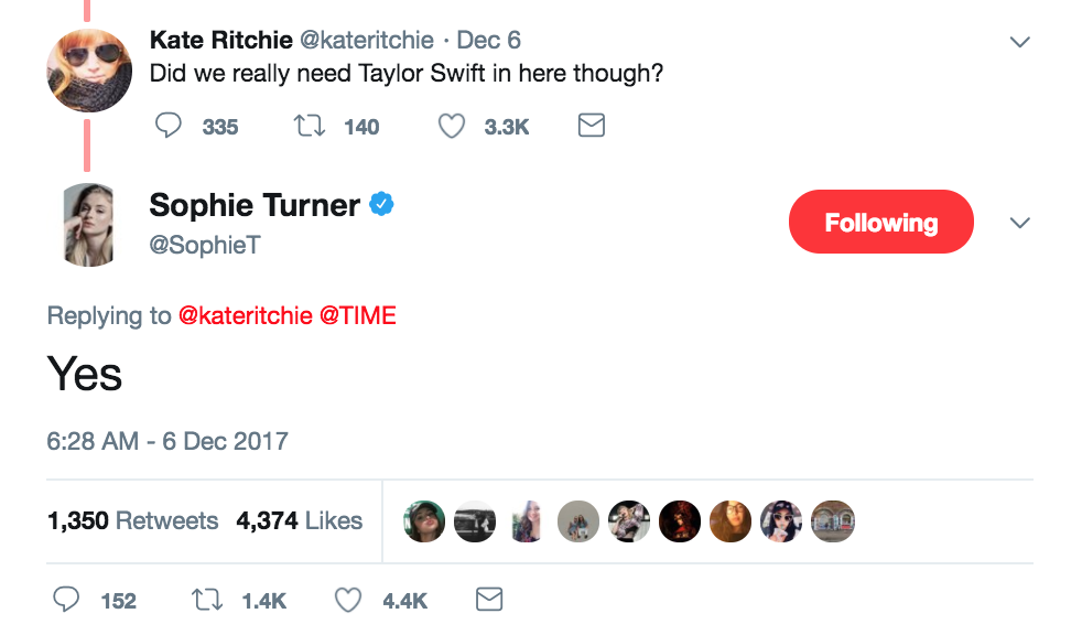 sophie turner taylor swift tweet