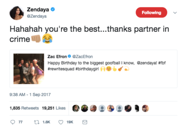zac zendaya birthday tweet