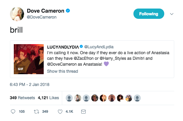 dove cameron movie tweet