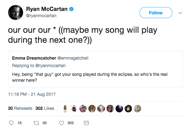 ryan mccartan eclipse song tweet 2