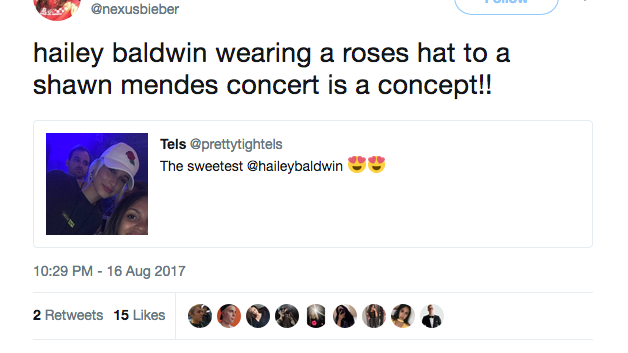 hailey baldwin shawn mendes concert