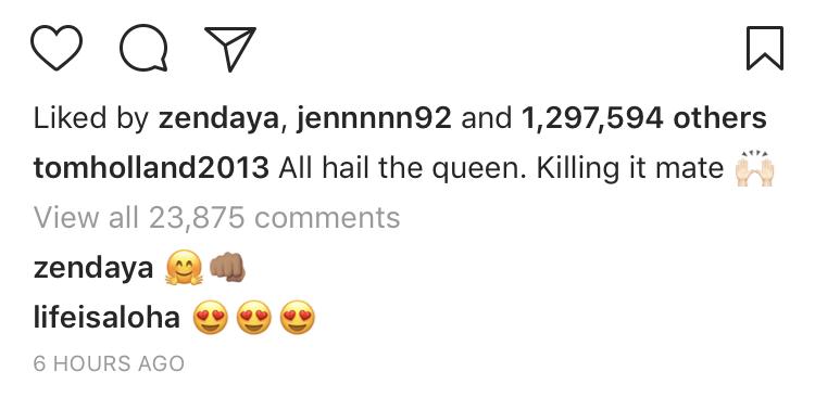 tom holland zendaya instagram comment